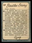 1964 Topps Beatles Diary #33 A George Harrison  Back Thumbnail