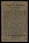 1956 Topps U.S. Presidents #36  Dwight D.Eisenhower  Back Thumbnail