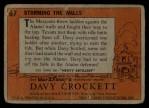 1956 Topps Davy Crockett #67 ORG  -     Storming The Walls  Back Thumbnail