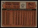 1972 Topps #550  Brooks Robinson  Back Thumbnail