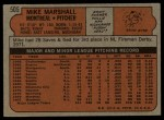 1972 Topps #505  Mike Marshall  Back Thumbnail