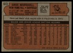 1972 Topps #673  Dave Marshall  Back Thumbnail