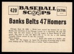 1961 Nu-Card Scoops #419   -   Mickey Cochrane  Bean Ball Ends Career of Mickey Cochrane Back Thumbnail