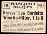 1961 Nu-Card Scoops #408   -   Lew Burdette Braves Burdette Wins No-Hitter Back Thumbnail