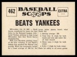1961 Nu-Card Scoops #462   -   Hank Aaron  Aaron's Bat Beats Yankees in Series Back Thumbnail