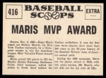 1961 Nu-Card Scoops #416   -   Roger Maris  Maris Nips Mantle for AL MVP Award Back Thumbnail