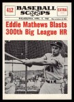 1961 Nu-Card Scoops #412   -  Eddie Mathews Eddie Mathews Blasts 300th Big League HR Front Thumbnail
