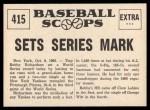 1961 Nu-Card Scoops #415   -  Bobby Richardson Bobby Richardson Sets Series Mark Back Thumbnail
