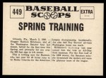 1961 Nu-Card Scoops #449   -   Harmon Killebrew  Killebrew Starts Spring Training Back Thumbnail