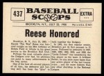 1961 Nu-Card Scoops #437   -   Pee Wee Reese  Reese Honored as Greatest Dodger Short Stop Back Thumbnail