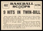 1961 Nu-Card Scoops #407   -   Pete Runnels  Runnels Makes 6 Hits in Twin-Bill Back Thumbnail