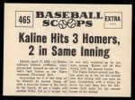 1961 Nu-Card Scoops #465   -   Al Kaline  Kaline Hits 3 Homers in One Game Back Thumbnail