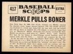 1961 Nu-Card Scoops #417   -   Fred Merkle  Merkle Pulls Boner Back Thumbnail