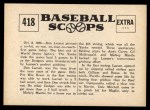 1961 Nu-Card Scoops #418   -   Don Larsen  Larsen Hurls Perfect World Series Game Back Thumbnail