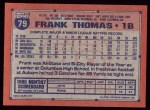 1991 Topps #79  Frank Thomas  Back Thumbnail