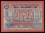 1991 Topps #190  Matt Williams  Back Thumbnail