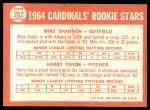 1964 Topps #262   -  Mike Shannon / Harry Fanok Cardinals Rookies Back Thumbnail