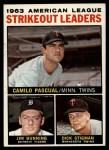 1964 Topps #6   -  Camilo Pascual / Jim Bunning / Dick Stigman AL Strikeout Leaders Front Thumbnail