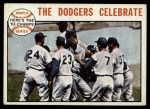 1964 Topps #140  Walter Alston / Bart Shirley / Lee Walls / Sandy Koufax 1963 World Series Summary - The Dodgers Celebrate Front Thumbnail