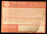1964 Topps #311  Tom Brown  Back Thumbnail