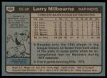 1980 Topps #422  Larry Milbourne  Back Thumbnail