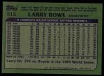 1982 Topps #515  Larry Bowa  Back Thumbnail