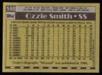 1990 Topps #590  Ozzie Smith  Back Thumbnail