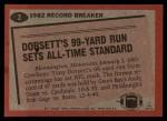 1983 Topps #2   -  Tony Dorsett Record Breaker Back Thumbnail
