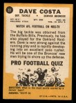 1967 Topps #33  Dave Costa  Back Thumbnail