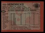 1983 Topps #302  Ted Hendricks  Back Thumbnail