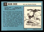 1964 Topps #7  Bob Dee  Back Thumbnail