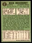 1967 Topps #40 STR Rick Reichardt  Back Thumbnail