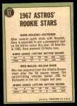 1967 Topps #51   -  Dave Adlesh / Wes Bales Astros Rookies Back Thumbnail