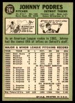 1967 Topps #284  Johnny Podres  Back Thumbnail