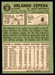 1967 Topps #20  Orlando Cepeda  Back Thumbnail