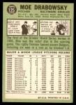 1967 Topps #125  Moe Drabowsky  Back Thumbnail