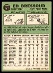 1967 Topps #121  Eddie Bressoud  Back Thumbnail