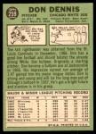 1967 Topps #259  Don Dennis  Back Thumbnail