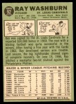 1967 Topps #92  Ray Washburn  Back Thumbnail