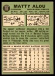 1967 Topps #10  Matty Alou  Back Thumbnail