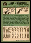 1967 Topps #457  Andy Etchebarren  Back Thumbnail