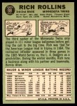 1967 Topps #98 RED Rich Rollins  Back Thumbnail