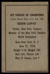 1952 Berk Ross  Eddie Lopat  Back Thumbnail