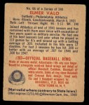 1949 Bowman #66  Elmer Valo  Back Thumbnail
