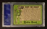 1957 Topps Robin Hood #43   Ready For Combat Back Thumbnail