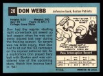 1964 Topps #20  Don Webb  Back Thumbnail
