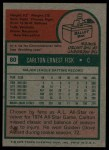 1975 Topps #80  Carlton Fisk  Back Thumbnail