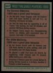 1975 Topps #207   -  Harmon Killebrew / Willie McCovey 1969 MVPs Back Thumbnail