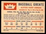 1960 Fleer #32  Al Simmons  Back Thumbnail