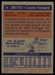 1972 Topps #34  Jim Fox   Back Thumbnail